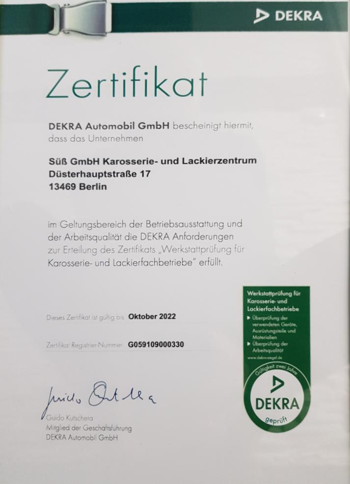 Dekra Zertifikat 2022